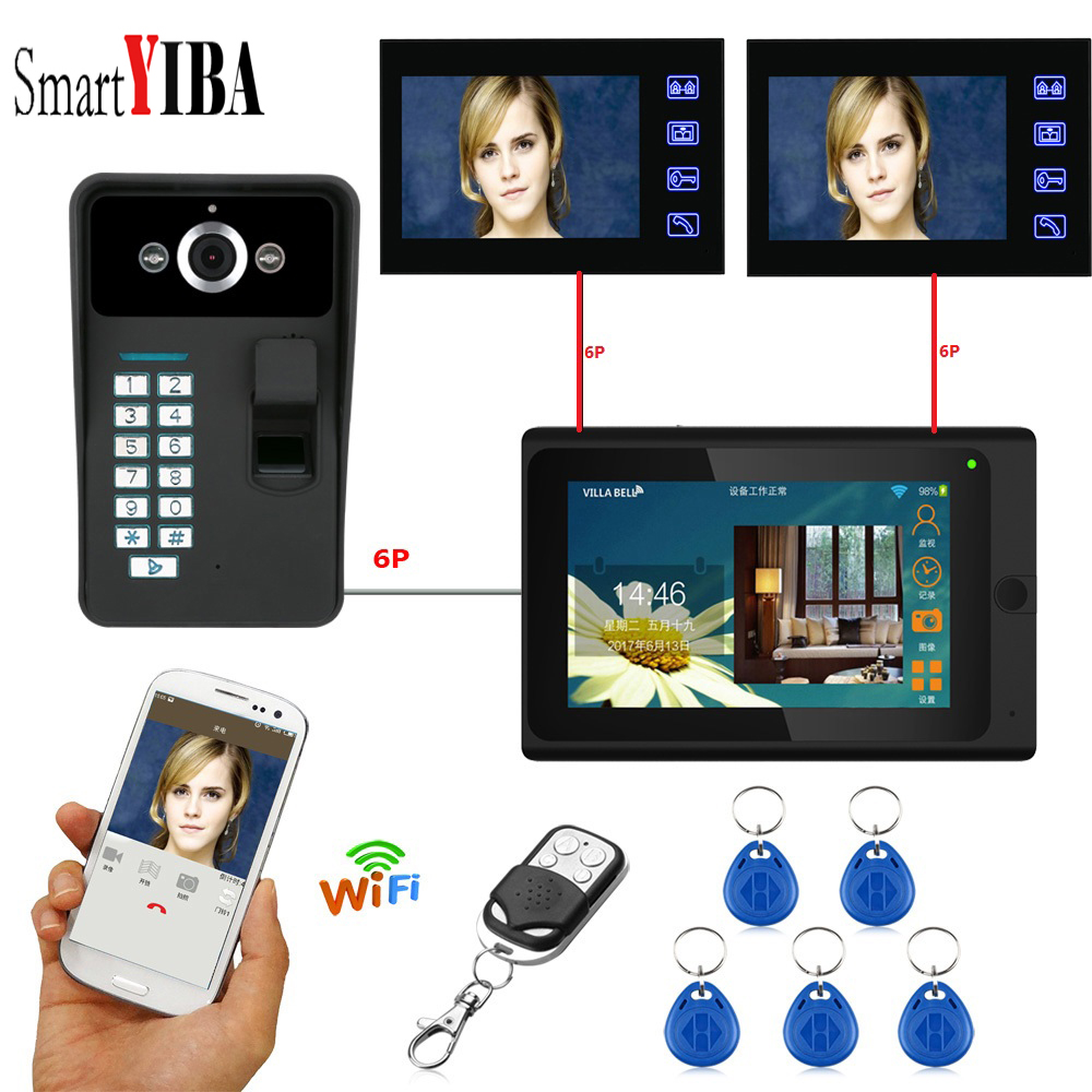 SmartYIBA Fingerprint RFID Password 7Inch Wifi Wireless Video Door Phone Doorbell Intercom 1 Camera 3 Monitor System APP Control smartyiba 7inch 7inch wired wireless wifi rfid password video door phone doorbell intercom with ir cut 1000tvl camera