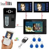 SmartYIBA Fingerprint RFID Password 7Inch Wifi Wireless Video Door Phone Doorbell Intercom 1 Camera 3 Monitor System APP Control