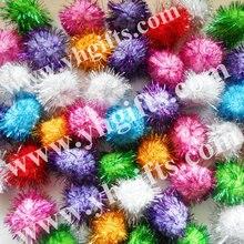 300PCS LOT 4 5cm Glitter pompom Multicolor pom pom Craft material Christmas ornament Hat decoration Freeshipping