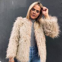 Autumn fashion new imitation ostrich fur grass coat 2018 Korean version of Slim winter women Top gray faux fur short coats S 3XL
