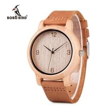 BOBO VOGEL relogio masculino Antieke Bamboe Horloges Mannen en Vrouwen Met Lederen Band Hout Horloge Top Merk Drop Shipping