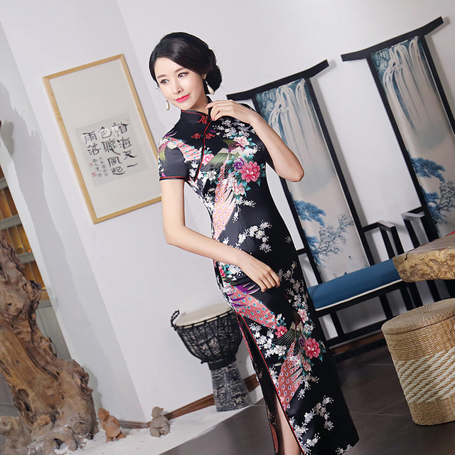 Black #Cheongsam Traditional #Chinese Style #Women's Long #Dress Lady Slim Rayon #Qipao #fashion #boygrl 2