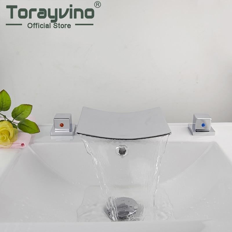 Torayvino Solid Brass Bathtub Faucet Bath Tub Mixer Waterfall Faucet Spout Deck Mounted Bath Shower Mixer Taps