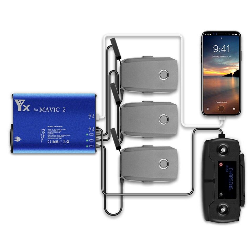 5 en 1 DJI Mavic 2 moyeu de chargeur de batterie moyeu de charge de batterie Intelligent pour DJI Mavic 2 Pro/Zoom adaptateur de charge de voiture de batterie