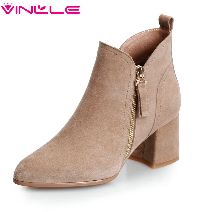 VINLLE 2018 Women Boots Ankle Boots Square High Heel Western Style Zipper Cow Suede Gray Ladies Motorcycle Shoes Size 34-39 vinlle women boots square high heel western style elastic band solid ankle boots round toe platform ladies boots size 34 43