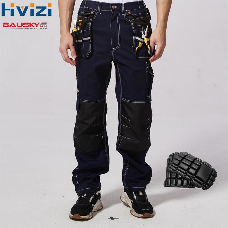 Calças Workwear dos homens 100% de Algodão Calças de Vestuário Calças de Segurança Multi-função Bolsos Ferramenta Mechanic Wear-resistant Knee Pad b111
