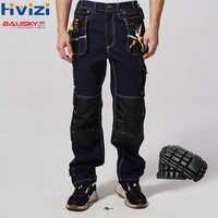 Pantalones de trabajo para hombre 100% algodón ropa de seguridad Pantalones multifunción herramientas bolsillos mecánico resistente al desgaste rodillera b111