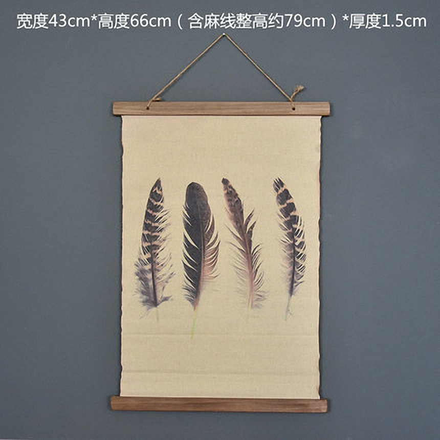 Large Retro Feathers Linen Cloth Painting Scrolls Poster Mural Paintings Banners Hanging Art Office Loft Ornament Wall