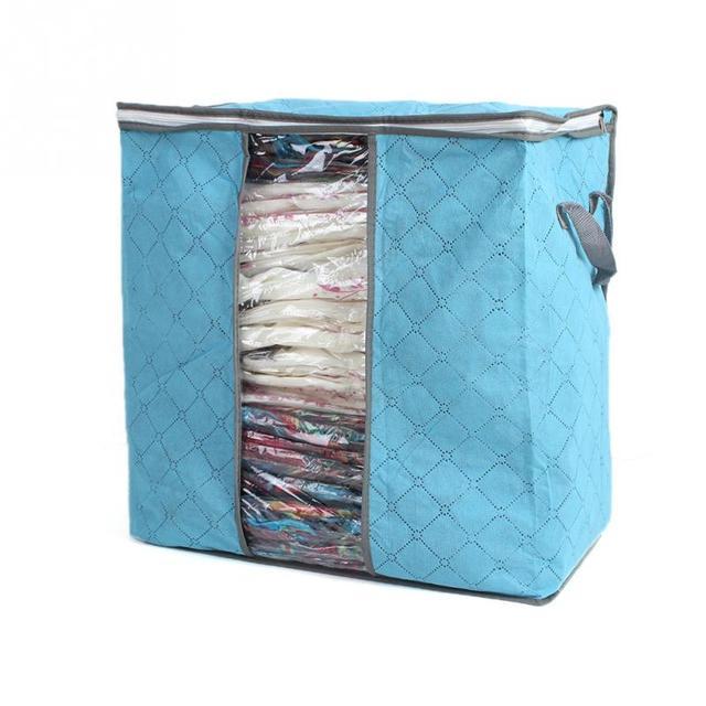 Горячая Свитер Одеяло Шкаф Прозрачные Сумки Windows Storage Case Box Складные Bamboo Уголь Одежда Одеяло 2 Цветов Для Выбора