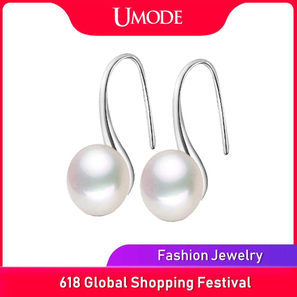 UMODE Fashion Genuine Natural Freshwater Pearl Earrings 925 Sterling Silver Jewelry Femme Pink Drop Earrings For Women AE0009