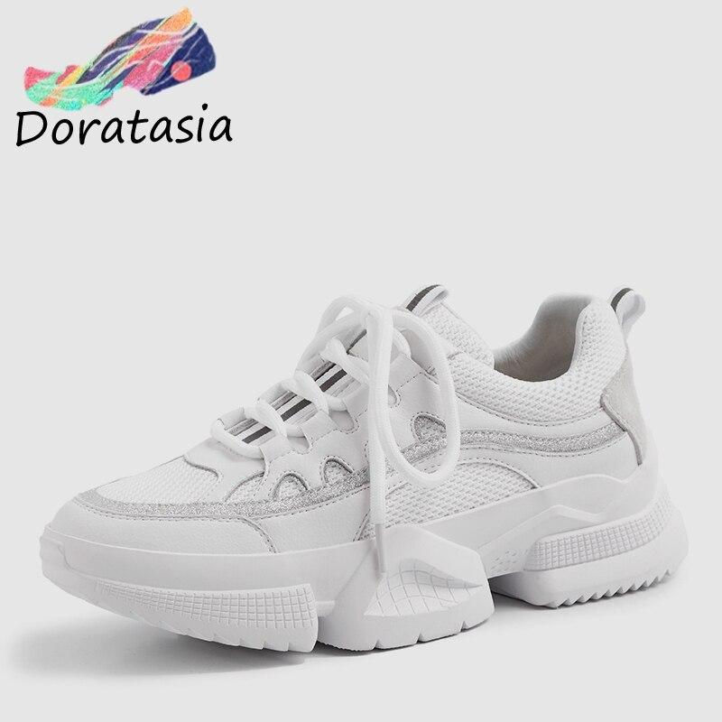 DORATASIA printemps nouveau INS offre spéciale Cool maille baskets femmes Split cuir 2019 à lacets fille papa chaussures en cuir doublure appartements