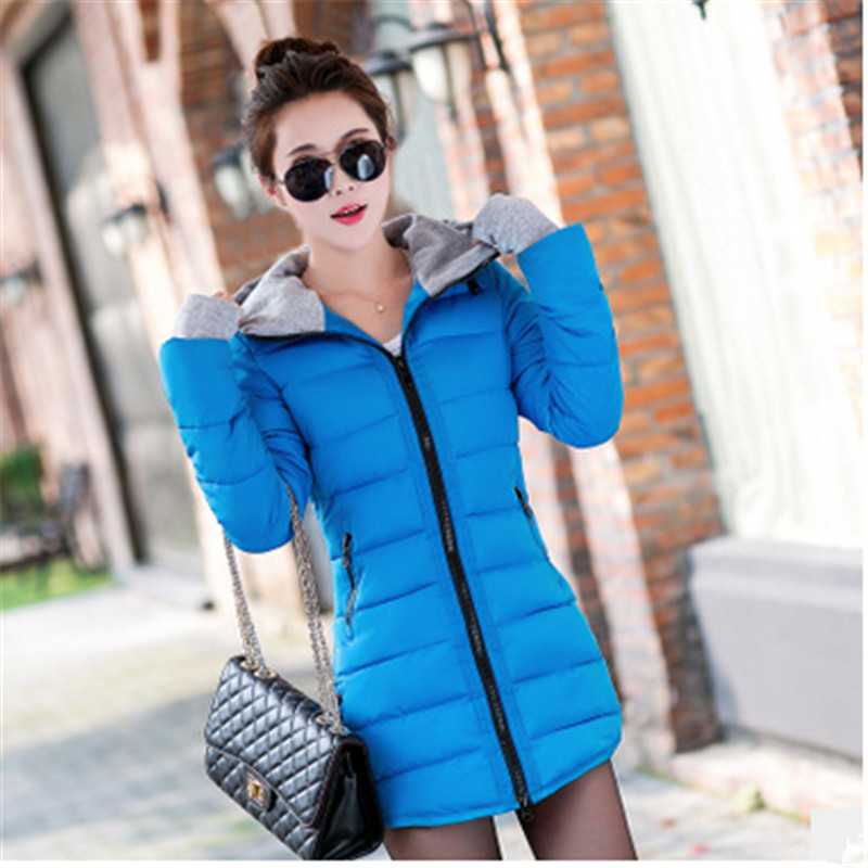 New Women Winter Coat 2017 Fashion Hooded warm Medium long Parkas  sleeve Loose Big yards Jacket winter students women coat new style loose big yards jacket long sleeve medium long hooded jacket thick cotton warm coats g2707