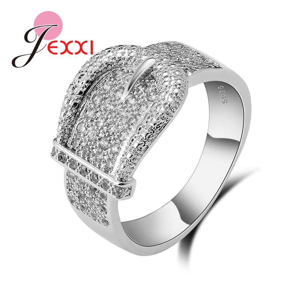 Fashion Shiny Belt Ring For Women Delicate Austrian White Crystal Silver Bijoux High Quality 925 Sterling Silver Jewelry