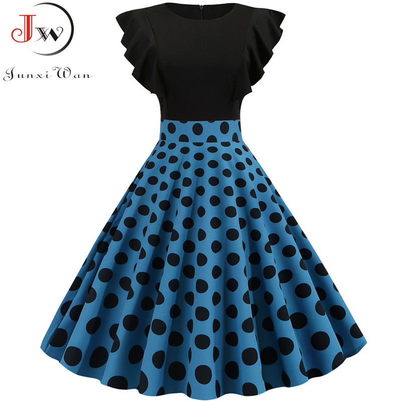 Summer Women Vintage Dress Black Polka Dot Print Petal Sleeve Elegant Pinup Party Dress Robe Femme 2019 Plus Size Midi Vestidos