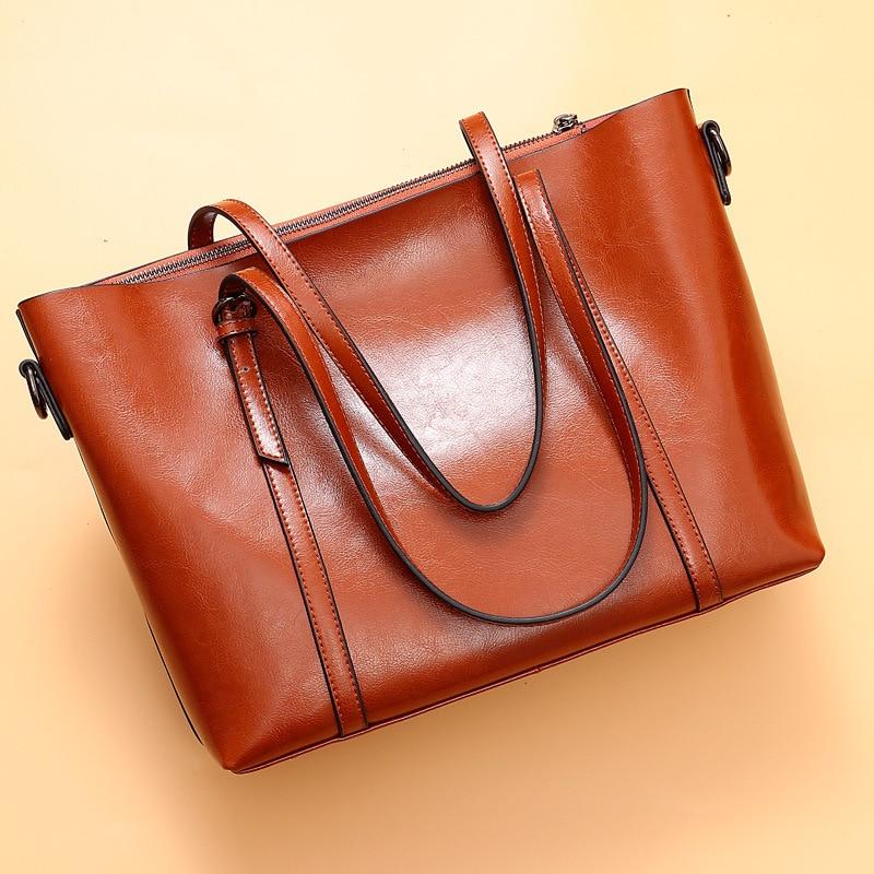 Naiste nahast käekotid kvaliteetne õlakott Naine Top-käepide kotid - Käekotid - Foto 4