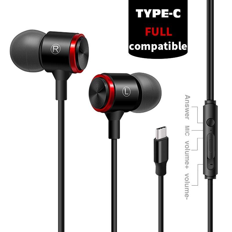 Type-C Dans Oreille Pleine Compatible Écouteurs Numérique Filaire Contrôle Sans Perte Audio Écouteurs avec DAC Puce Microphone 2018 NOUVEAU