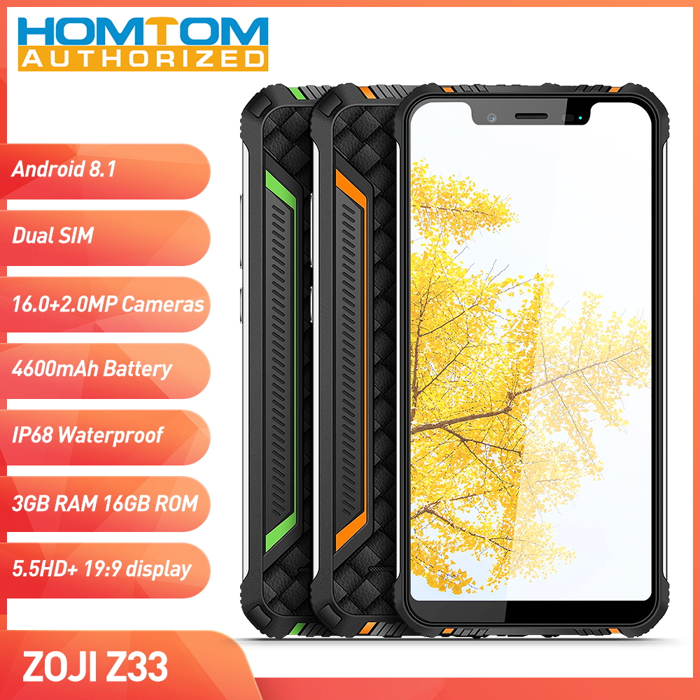 HOMTOM ZOJI Z33 4G Smartphone 5.85 Android 8.1 MTK6739 Quad Core 3GB+32GB Triple cameras Face Detection IP68 Warterproof Type-CHOMTOM ZOJI Z33 4G Smartphone 5.85 Android 8.1 MTK6739 Quad Core 3GB+32GB Triple cameras Face Detection IP68 Warterproof Type-C