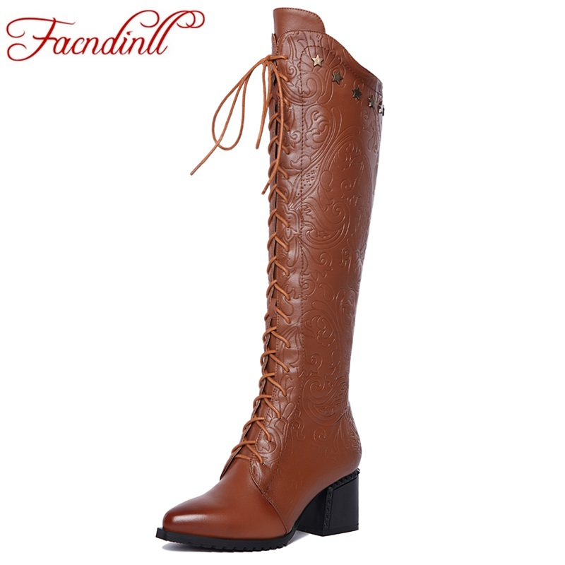 FACNDINLL 2017 new autumn winter warm long boots genuine leather high heels pointed toe shoes woman party casual riding boots 42 facndinll genuine leather sandals for