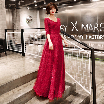 weiyin 2020 New Design Lace Evening Dresses Long High Quality Charming A-line Half SleeveS Prom Party Gown Robe de Soiree WY1597