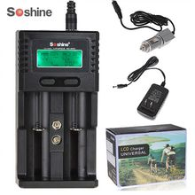 Soshine 2 независимых канала lcd интеллектуальное зарядное устройство для Li-Ion LiFePO4 Ni-MH 26650 18650 14500 21700 16340 AA AAA батареи