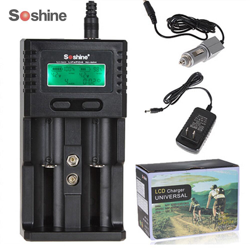 Soshine 2 LiFePO4 Independente Canais LCD Carregador Inteligente para Li-ion bateria Ni-MH 26650 18650 14500 21700 16340 AA AAA