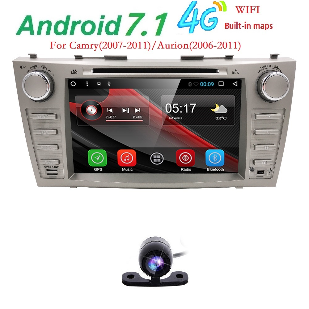 AutoRadio 2 Din Android 7.1 Car DVD Player For Toyota Camry Aurion 2006 2007 2008 2009 2010 2011 Stereo GPS Navigation Wifi SWC dasaita android 8 0 autoradio for mazda 6 nvaigation 2006 2007 2008 2009 2010 2011 2012 support steering wheel control 1080p dab