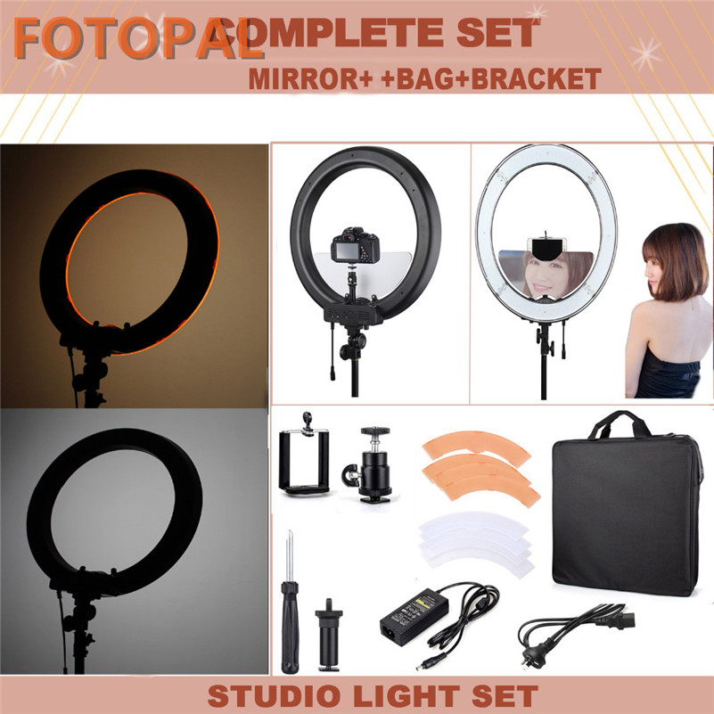 Fotopal rl 18 18 55w 110v 220v Dimmable LED Photo Studio Phone Video Ring Light Kit