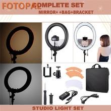 Fotopal rl-18 18 «55 Вт 110 В-220 В dimmable фото/Studio/телефон/видео кольцо света комплект кольцевая лампа свет с зеркалом сумки