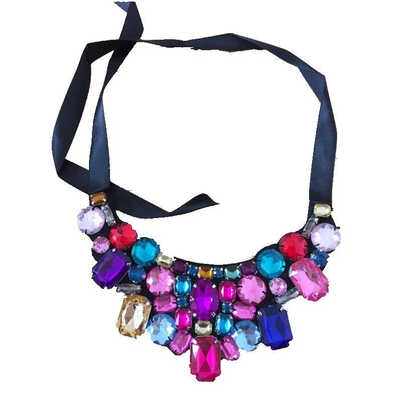 CirGen Мода ручной колье на шею разноцветные акриловые лента чокер из ткани воротник ожерелье Женщины Украшение, AF804