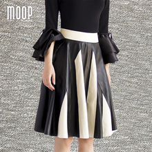Women autumn spring white red genuine leather spliced striped sheepskin lamb A-Line flare skirt faldas jupe saia etek LT1590