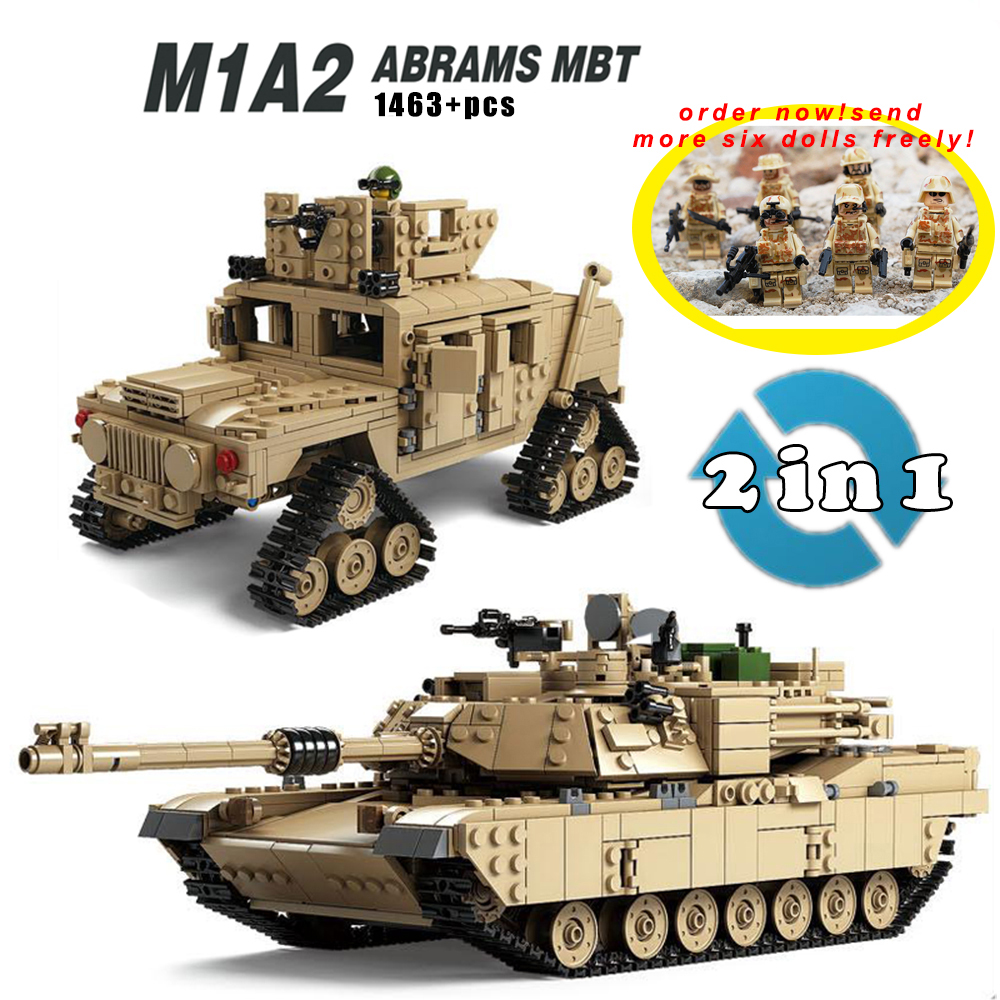 Kazi Military M1A2 Tank Collection Series Trans Toys 1:28 ABRAMS MBT HUMMER Model Building kits Blocks compatible  Gifts For Kid kazi 228pcs military ship model building blocks kids toys imitation gun weapon equipment technic designer toys for kid