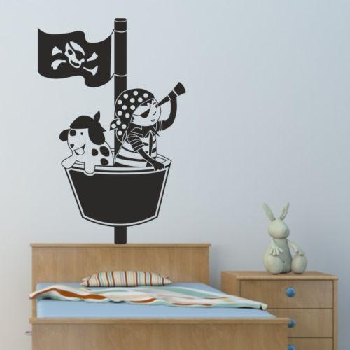 PIRATE nástěnná samolepka ložnice piráti lodní samolepky personalizované chlapci obtisky vinyl