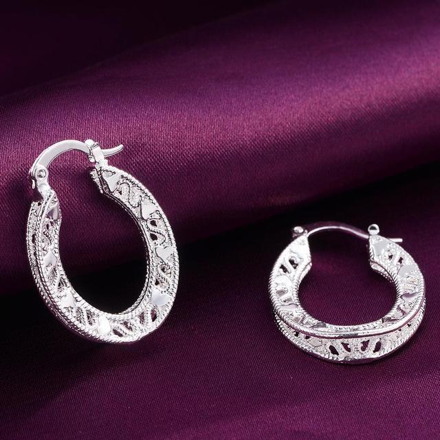 Купить серьги женские модные серебристые высокого качества ажурные картинки