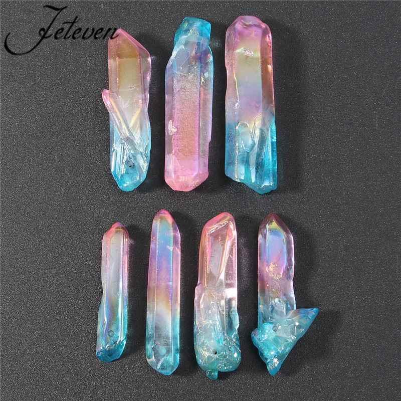 New 7pcs Stick Dagger Spike Crystal Beads Briolettes Blue Pink Natural  Quartz Rough Stones Top Drilled Long Points Pendants