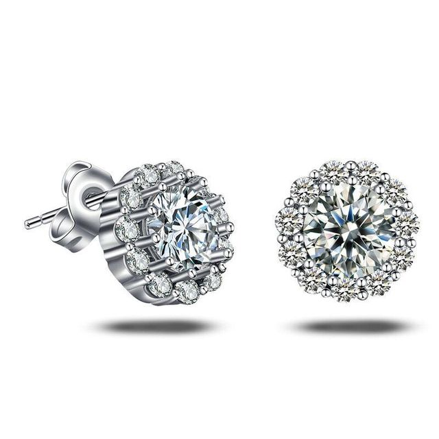 d36633a6c MxGxFam Round White CZ Stud Earrings for Women AAA+ Cubic Zircon Fashion  Jewelry White Gold Color