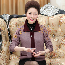 купить Autumn Winter High Quality Middle Aged Women Cashmere Cardigan Plus Size Loose Coat Female Long Sleeve Printed Knitted Sweaters дешево