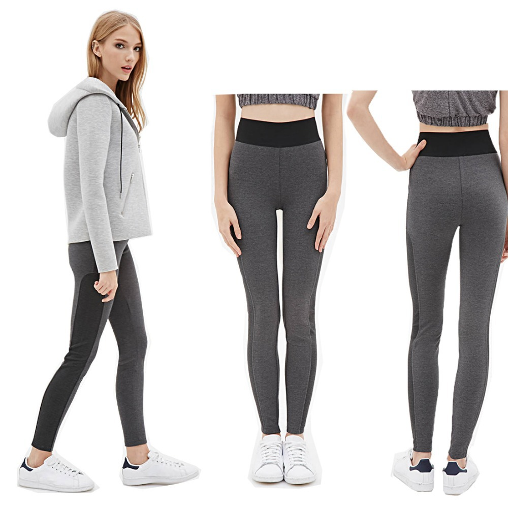 87c4fcd0ab High Waist Stretched Yomsong Women Sport Pants Black Gray Patchwork Leggings  Gym Finess Pants Running Workout Wear long XXL