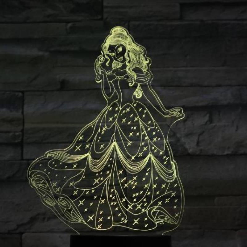 Usb 3d Led Night Light Decoration Girls Children Kids Baby Gift 7 Color Changing Visual Bedroom Table Lamp Princess Belle Figure