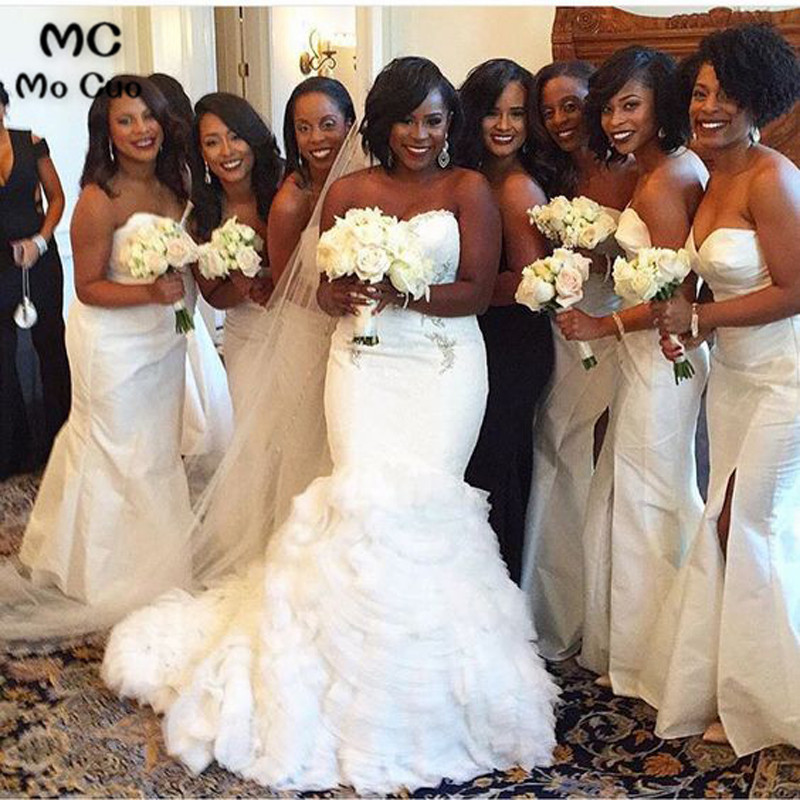 2018 New Nigerian Wedding Ceremony   Dress   Sweetheart Maid of Honor Wedding Party   Dress   Long Ruched Satin White   Bridesmaid     Dresses