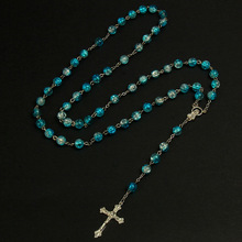 8mm Fashion Handmade Round Crystal Beads Catholic Rosary Quality Cross Bead Necklace with Religious Pendant