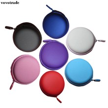 Portable Mini Round Hard Storage Case Bag for Earphone Headphone SD TF Cards Black Blue Pink Purple Red SkyBlue White 20(China)