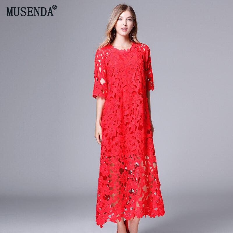 MUSENDA плюс размеры для женщин Красный выдалбливают кружево свободные макси длинное платье осень 2018 г. Женский Повседневный пляжный платья дл...