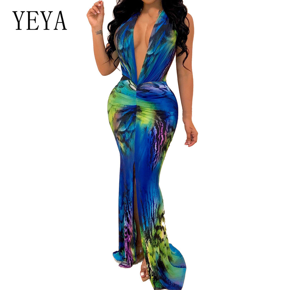 YEYA Women Summer Maxi Dresses Fashion Print Long Dress Vestidos Casual Sleeveless Boho Beach Deep V Neck Tunic Pleated