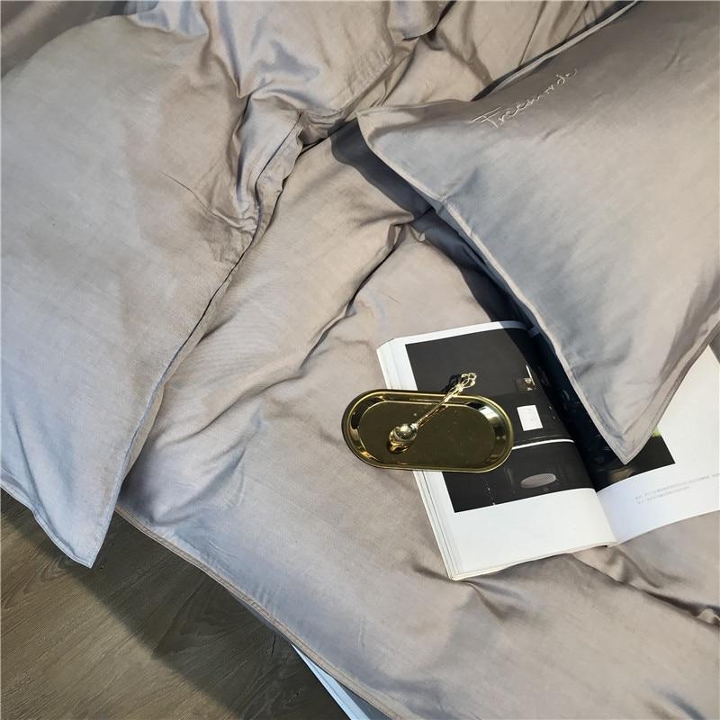 Image 5 - Gray Silver Tencel Silk Soft Bedding set Queen King size Bed set bed sheet Duvet cover Fitted sheet parure de lit ropa de camaBedding Sets   -