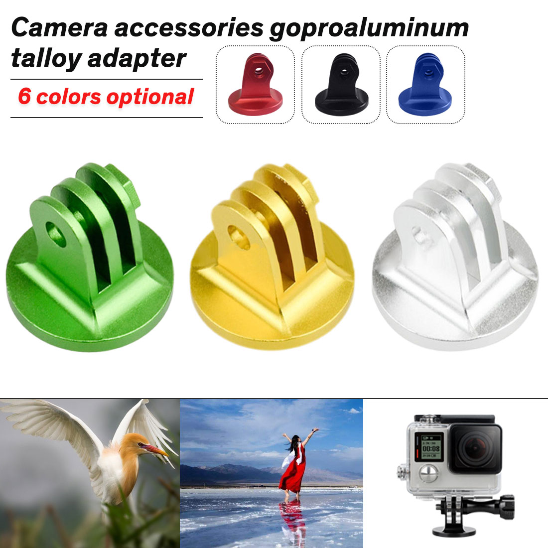 Accessories for Gopro Hero1 2 3 Mount CNC Aluminum Alloy Tripod Adapter for GoPro HERO 5 4 3+ 3 2 1 SJ4000 for Xiaomi Yi Camera