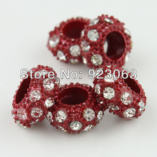 7ce35c66b431 excellent unids claro rhinestone cristal rojo oscuro aleacin plateada  rondelle spacer grandes del agujero del encanto europeo cuentas para hacer  pulsera ...