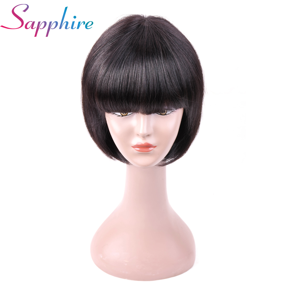 Human Hair Lace Wigs Sapphire Glueless Human Hair Wigs With Bangs For Black Women Remy Brazilian Human Hair Lace Front Wig Pre Plucked Bang Good Taste Hair Extensions & Wigs