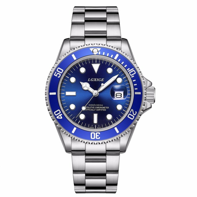 2018 Mens watches top brand luxury Blue Dial Ceramic Bezel Luminous japan Quartz Silver blue Two Tone Stainless Steel Watch