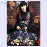Kimono Lolita Dress Hone Onna In Haunted Night JSK Neverland Print Bow Ruffles Dark Navy Lolita Jumper Skirt !Newest!