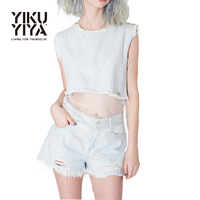 YIKUYIYA New Fashion Women T Shirt 2016 Punk Style Mesh Street Style Solid Blue Shirt Cut